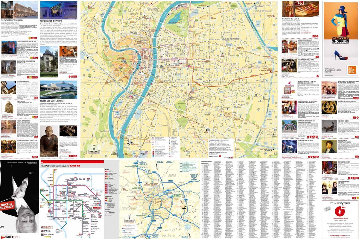 Straat kaart van Lyon frankrijk - Lyon street map (Auvergne-Rhône ...